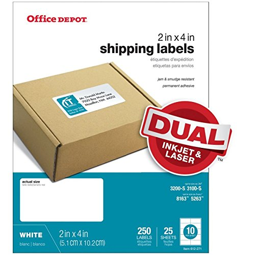 Office Depot White Inkjet/Laser Shipping Labels, 2in. x 4in, Pack of 250, 505-O004-0007