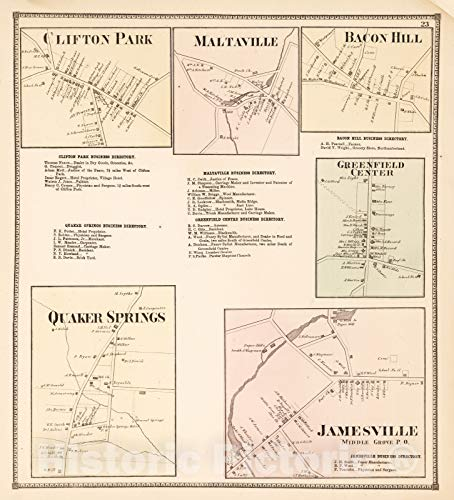 Historic Map | 1866 Clifton Park. Maltaville. Bacon Hill. Greenfield Center. Quaker Springs. Jamesville, Middle Grove P.O, New York. | Vintage Wall Art | 32in x 36in