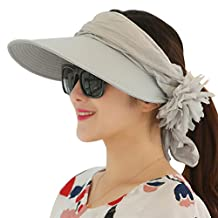 WITERY Women Two Way Folding Wide Brimmed Sun Protective Hat Cap Fashion Reversible Sun Hat UPF 50+