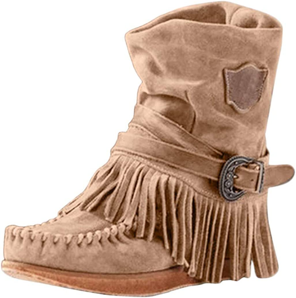 Womens Midi Calf Boots,Retro Casual Suede Short Booties Adjustable Buckle Round Toe Tassel Fringe Flat Boots Nrvera