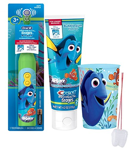 "Disney's ""Finding Dory"" 3pc. Bright Smile Oral Hygiene Set! Includes Dory Turbo Powered Toothbrush, Toothpaste & Nemo Mouthwash Rise Cup! Plus Bonus ""Remember to Brush"" Visual Aid!"