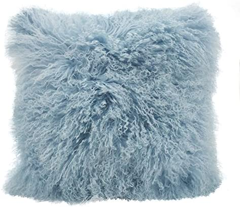 SARO LIFESTYLE 100 Wool Mongolian Lamb Fur Throw Pillow with Poly Filling, 20 , Ice Blue