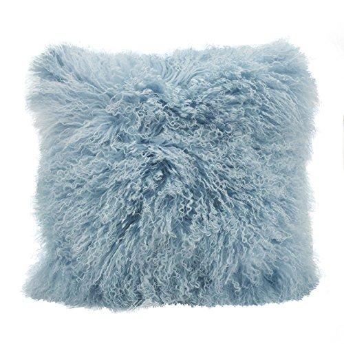 SARO LIFESTYLE Mongolian Lamb Fur Poly Filled Square Throw Pillow, 20', Ice Blue