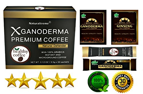PureGano Natural Defender Anti-Aging - Immunity Booster - Detox Super Mushroom Instant Coffee - 1 Box 30 Sachets (3.5g/105g)
