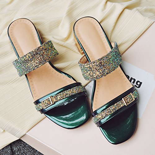 Verde AIYOUMEI Caviglia sulla Aperte Donna qwwCIz
