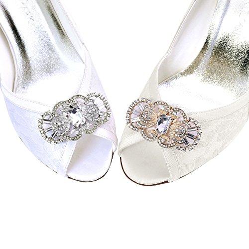 máscara Diseño ElegantPark Zapatos Clips Plateado Boda Fiesta Rhinestones 2 de de Pcs Decoración antigua la wfq8wB