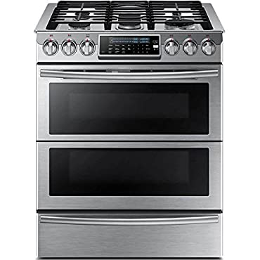 Samsung NY58J9850WS 30 Slide-in, Dual-Fuel Range with 5 Gas Burners in Stainless Steel