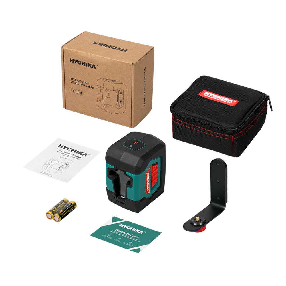 Laser Level, HYCHIKA 50 Feet Line Laser with Dual Modules, Switchable Self-Leveling Vertical and Horizontal Line, Magnetic Base,Carrying Pouch,2AA Batteries Included