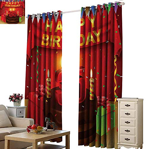 Homrkey Exquisite Curtain 35th Birthday Festive Event with Confetti Rain Triangle Flags and Presents Chocolate Cake Blackout Draperies for Bedroom Window W84 xL72 Multicolor