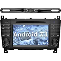 YINUO 7 inch Android 7.1.1 Nougat Quad Core Car Stereo HD Touch Screen Car Radio Receiver DVD GPS Navigation for Mercedes-Benz C-Class W203/CLK support Bluetooth Wifi