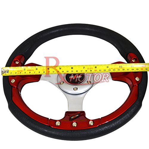 Rxmotor 320MM 6 Bolts JDM Horn Button Steering Wheel Universal Fit Not Include Hub Adapter BLACK