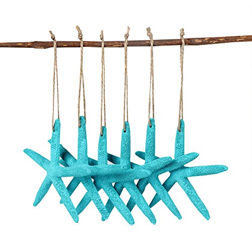 AerWo 20pcs Blue Artificial Resin Starfish with Rope Hanging Finger Star Fish DIY Craft Beach Wedding Decorations Christmas Ornaments 4inch