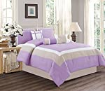4 Piece Color Block MILAN Goose Down Alternative Comforter set Bedding in 13 Colors - PURPLE, BLACK, GREY, NAVY, BLUE, BROWN, BURGUNDY, CORAL, ORANGE, LILAC, SAGE GREEN, TURQUOISE and YELLOW