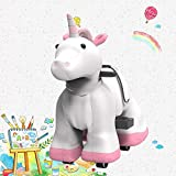 HOVER HEART Rechargeable 6V/7A Plush Animal Ride On Toy for Kids (3~7 Years Old) with Safety Belt (Unicorn)