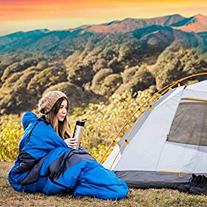 HiHiker Camping Sleeping Bag + Travel Pillow w/Compact Compression Sack – 4 Season Sleeping Bag for Adults & Kids – Lightweight Warm and Washable, for Hiking Traveling & Outdoor Activities