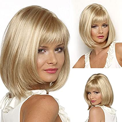 Corto rubio Bob Pelucas Para Mujeres Negro peluca de pelo sintético Natural para las mujeres de
