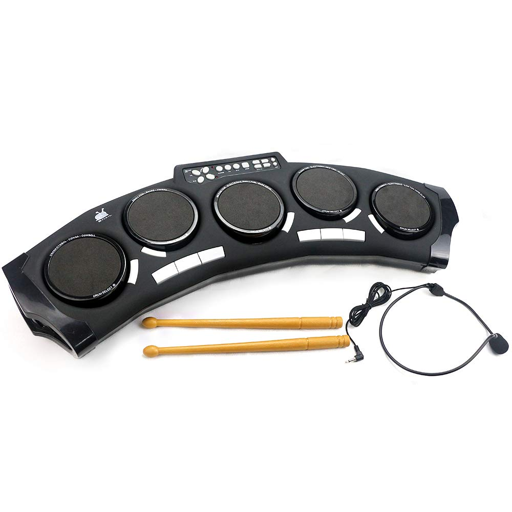 Rong Fa 5-Pad Tabletop Electronic Drum Kit for Kids, 14 Rhythms Drum Set for Children and Toddler with Microphone and Drumsticks, Educational Musical Instrument Gift for Kids
