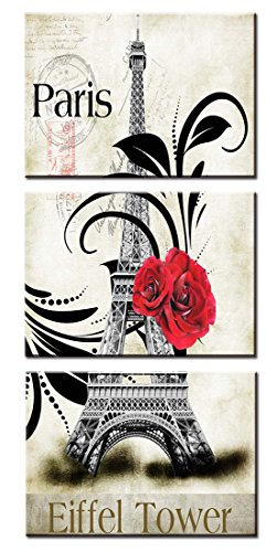 Rose Realistic Border (Wowdecor Wall Art 3 Panels Pieces Canvas Painting Prints Multiple Pictures - Romantic Paris Eiffel Tower and Rose Giclee Pictures Painting Printed on Canvas, Posters Wall Decor Gift - UNFRAMED (Large))