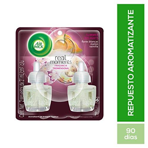 Air Wick Real Moments Repuestos para Aromatizante de Ambiente Continuo Eléctrico, Aromas Summer Delights, Flores Blancas,...
