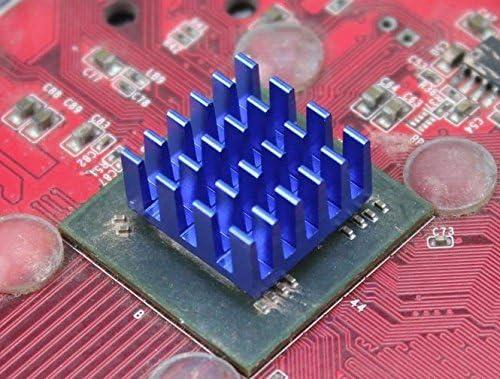 BuildPi.com Aluminum Heat Sink 15mm x 15mm x 8mm Blue 10 Pack