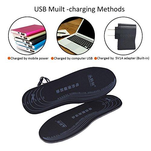 Semelles chauffantes adaptables rechargeables via câble USB pour femme/homme - pour chasse, pêche, randonnée, camping 3