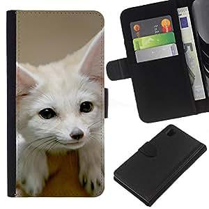 BearCase / Cuero de la tarjeta la carpeta del tirón Smartphone Slots Protección Holder /// Sony Xperia Z1 L39 /// Fennec Fox lindo