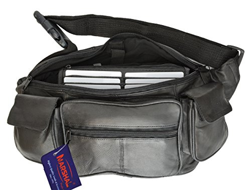 New Large Genuine Leather Waist Bag Fanny Pack with Two Cell Phone Pockets and Six Exterior Pockets (2 Exterior Pockets)