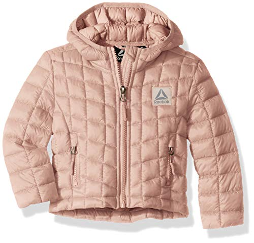 (Reebok Girls' Toddler Active Packable Hooded Jacket with Glacier Shield, Blush, 3T)