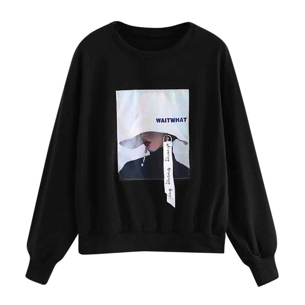 Kemilove 2018 Fashion Women Casual Long Sleeve Print Pullover Blouse Shirts Sweatshirt