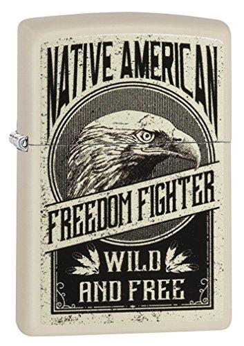 Zippo Lighter: Native American Freedom Flighter - Cream Matte 79230 by Zippo