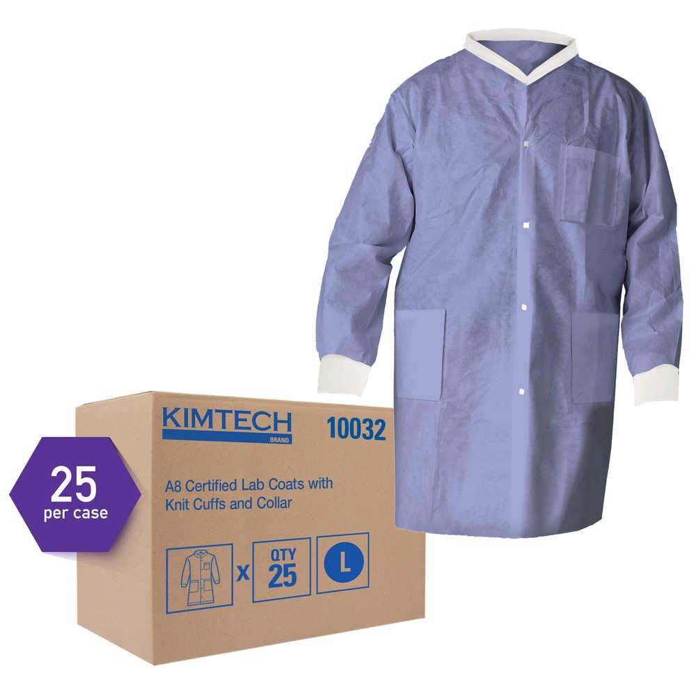 Kimtech A8 Certified Lab Coats with Knit Cuffs and Collar (10032), Protective 3-Layer SMS Fabric, Knit Collar & Cuffs, Unisex, Blue, Large, 25 / Case