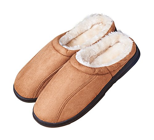 Men's Slip On Comfy Backless Moccasin Bedroom Slippers size 9.5-10.5 US brown