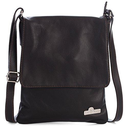 Liatalia Handbag Leather Body Shoulder medium Italian Size Coffee Amber Womens Real Purse Cross Soft rBwq6rxU