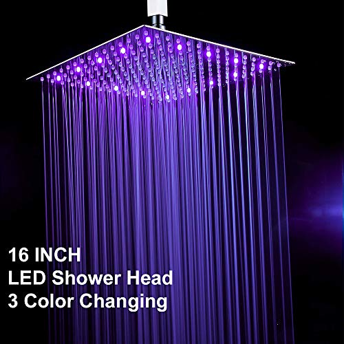 Fyeer 16 Inches Square LED Fixed Rainfall Shower Head Ultra-thin Ceiling Mounted, -