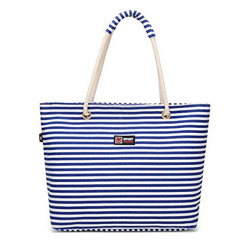 la de asas compras de de Bolso raya de las bolsa lona Flada de moda de de vacaciones mujeres hombro la la la la playa de las de Bolso Bolso de Azul de azul SIxROR