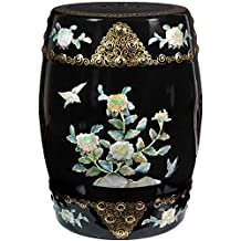 Oriental Furniture Stunning Asian Japanese Chinese Oriental Accents, 18-Inch Ming Lacquered Ceramic Jiangxi Porcelain Garden Stool, Black