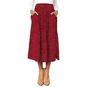 Exlura Womens High Waist Polka Dot Pleated Skirt Midi Swing Skirt with Pockets 21