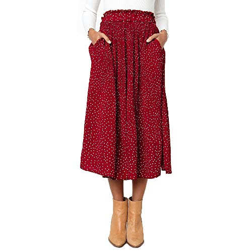 Exlura Womens High Waist Polka Dot Pleated Skirt Midi Swing Skirt with Pockets Red