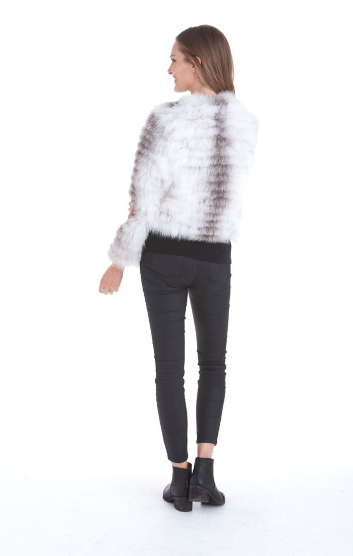 Love Token Lily Genuine Fox Fur Jacket, Multi-White, S by Love Token (Image #2)