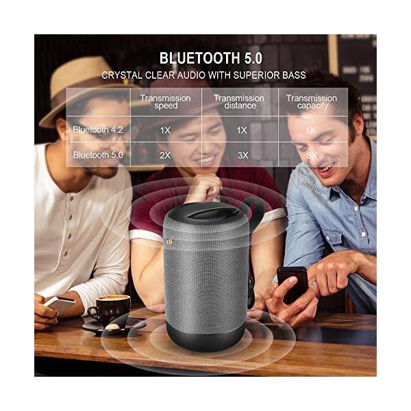 Enceinte Bluetooth Portable, 20W Haut-Parleur Bluetooth sans Fil avec autonomie de 12 Heures, Pilote Double, Basses Puissantes, Mains Libres Téléphone, Carte TF Support, Microphone et Chargement USB 4