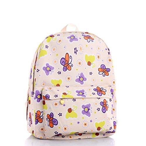 OUFLY Imprimir Mochila Floral Impreso Lienzo Mochila Hombro Satchel Schoolbag Daypack Mariposa amarilla y púrpura
