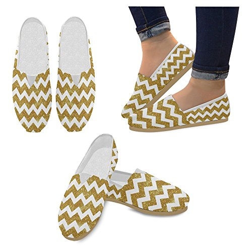 Interestprint Womens Loafers Klassiska Avslappnade Kanfassnedsteget På Mode Skor Gymnastik Mary Jane Platt Gyllene