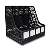 SAYEEC Sturdy Desktop 4 Sections Plastic Magazine Holders Frames File Dividers Document Cabinet Rack Display and Storage Organiser Box Black