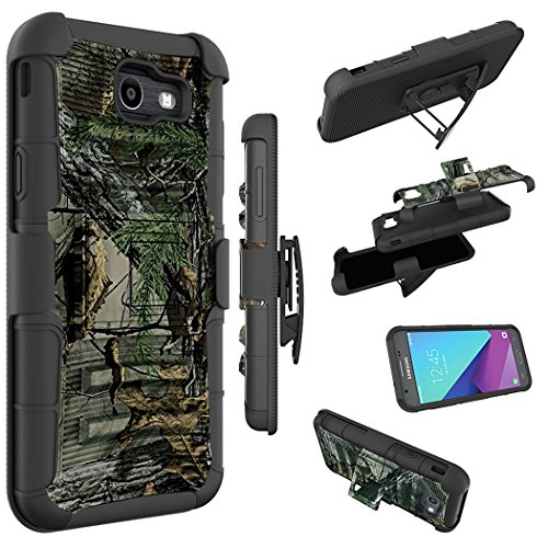 Galaxy J7 V Case, Galaxy J7 Perx Case, J7 Sky Pro Case, Zoeirc [Heavy Duty] Armor Shock Proof Dual Layer Holster with Kickstand & Belt Clip Holster for Samsung Galaxy Halo / J7 2017 (camo) (Camo Samsung Phone Cases)