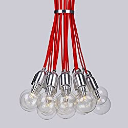 Utopia Alley Lt0007Ml101 Chrome Modern Adjustable Bulb Ceiling Spider Chandelier, Red Accent