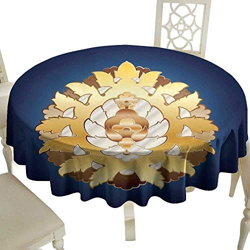 WinfreyDecor Fabric Dust-Proof Table Cover Ottoman Floral Motif for Kitchen Dinning Tabletop Decoration D71
