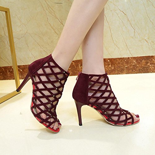 VEMOW High Heels for Women, for Work Utility Footwear Gladiator Closed Toe Platform Sparkly Roman Sandals Party Club Office Court Shoes, Peep Toe Rivet Roman Gladiator Sandals Wine