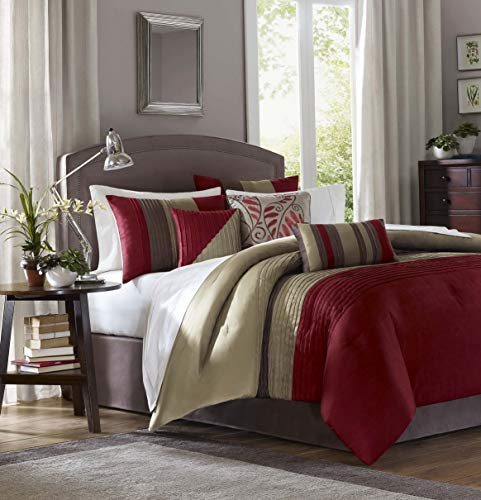 Hemau Premium New Soft Amherst Cal King Size Bed Comforter Set Bed in A Bag - Burgundy, Taupe, Pieced Stripes – 7 Pieces Bedding Sets – Ultra Soft Microfiber Bedroom ()