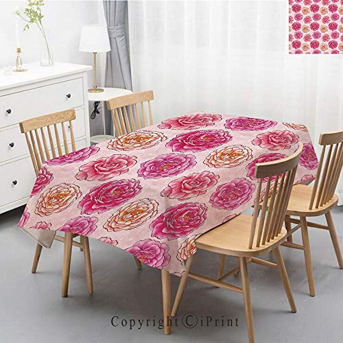 Printed Pattern Washable Table cloth Dinner Kitchen Home Decor Vintage Flower Decorative Square Linen Tablecloth,40x60 Inch,Floral,Romantic Rose Petals Fragrance Bouquets Love Classic Blooms Graphic,M