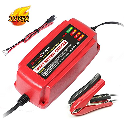 Smart Car Battery Charger Maintainer 12V 5A 4-Stage CE approved Smart fast AGM/SLA/GEL Sealed Lead acid Battery Charger electric lawn mower or (Deep Cycle 12v Ac Batteries)